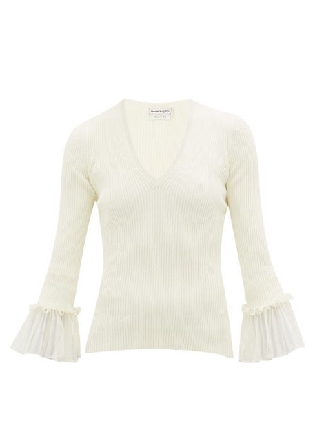 Alexander Mcqueen - Ruffled-cuff Ribbed-knit Sweater - Womens - Ivory
