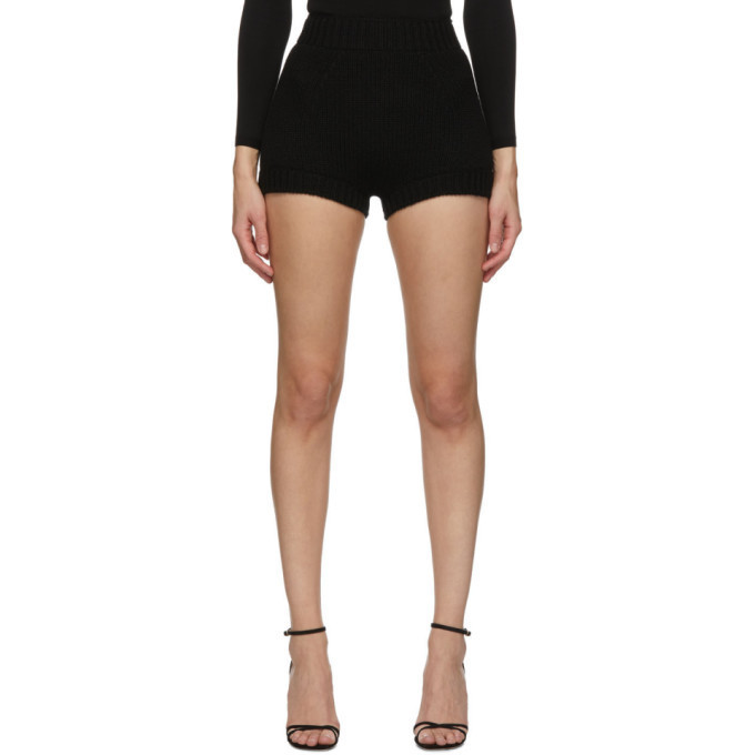Dolce and Gabbana Black Cashmere Knit Shorts in nero