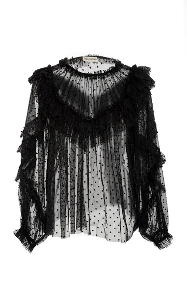 Ulla Johnson Dita Ruffled Flocked Cotton-Blend Tulle Blouse Size: 10 in black