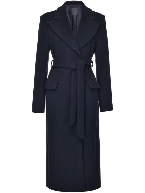 Pinko tie-waist longline coat in black