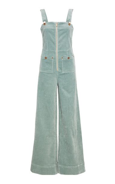 Alice McCall Quincy Flare-Leg Cotton Jumpsuit in green