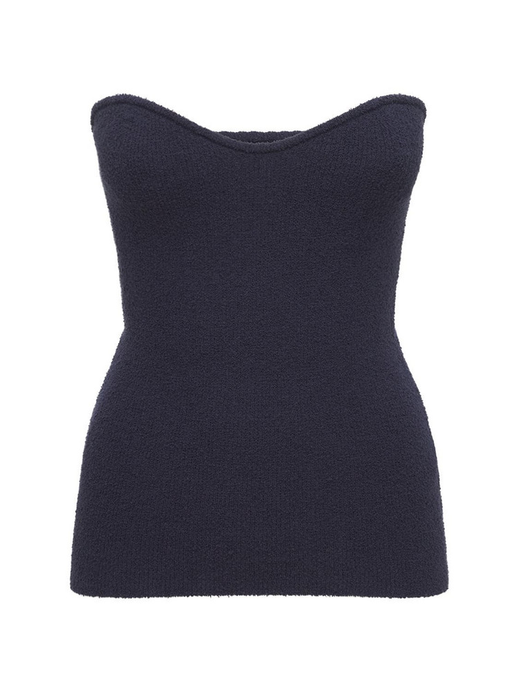 NANUSHKA Tua Strapless Cotton Blend Knit Top in blue