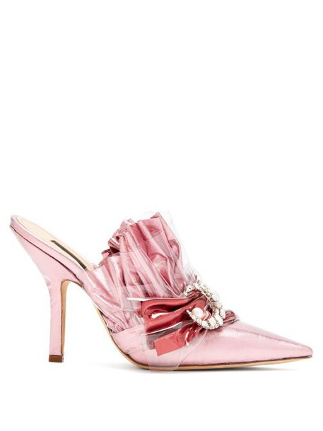 Midnight 00 - Ruched Lamé & Pvc Stiletto Heel Mules - Womens - Light Pink