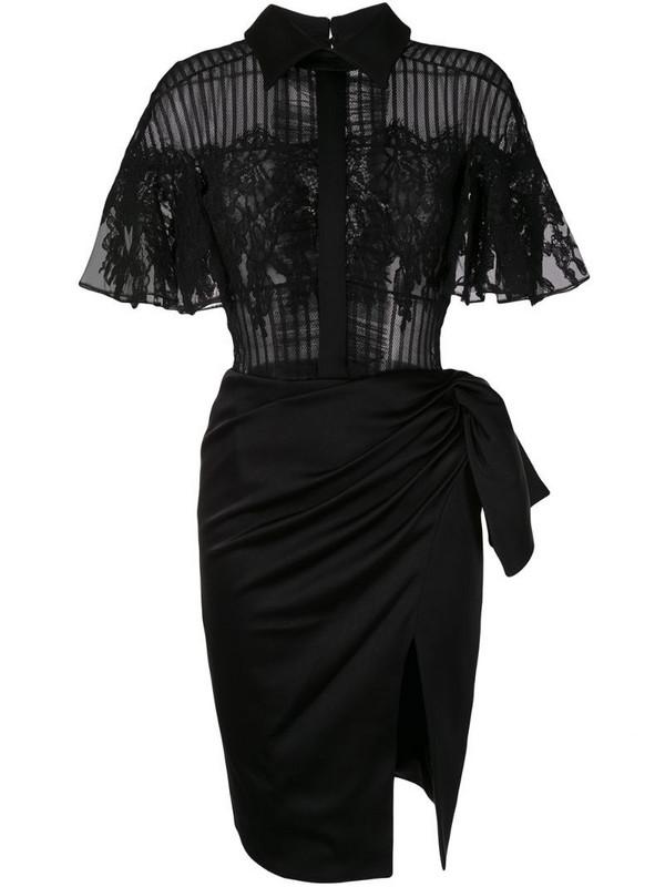 Saiid Kobeisy lace-panel shirt dress in black