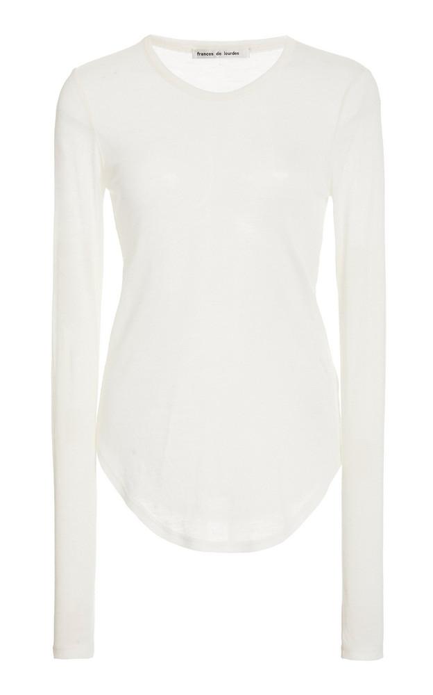 Frances de Lourdes Romy Long Sleeve Slim Tee in white