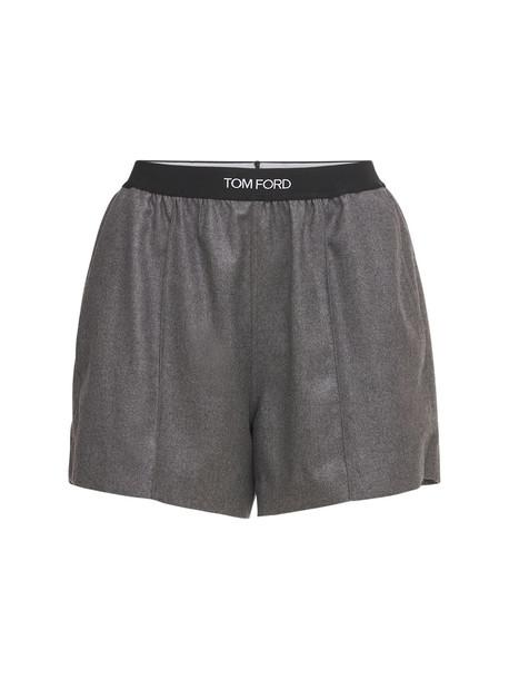 TOM FORD Logo Cashmere Jersey Mini Shorts in grey / multi