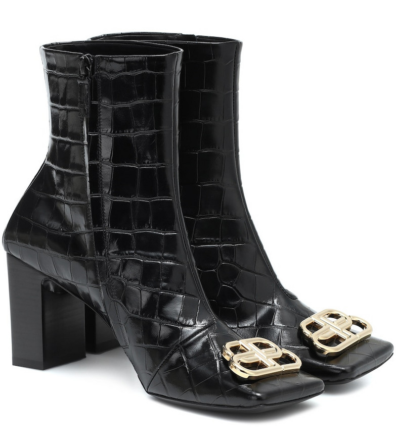 Balenciaga BB Double Square leather ankle boots in black