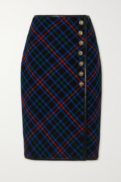 SAINT LAURENT - Leather-trimmed Checked Wool-twill Skirt - Navy