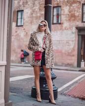 bag,crossbody bag,pink bag,heel boots,leopard print,faux fur jacket,denim skirt,mini skirt,black skirt,white turtleneck top
