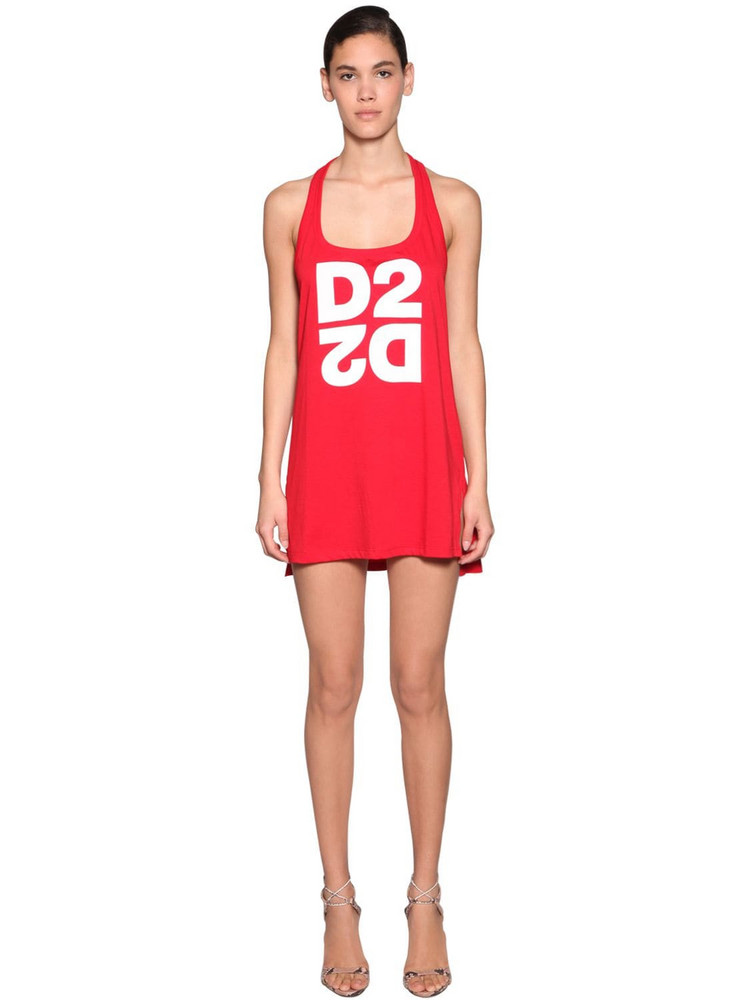 DSQUARED2 Logo Print Cotton Jersey Tank Dress in red