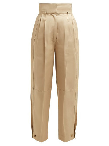 Givenchy - Pleated Waist High Rise Twill Trousers - Womens - Beige