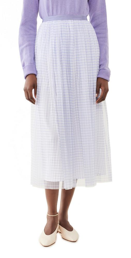 Needle & Thread Gingham Ballerina Skirt in blue / ivory