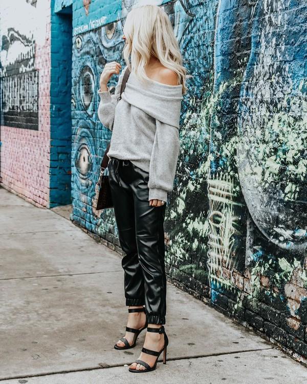 shoes black sandals black leather pants grey sweater black bag