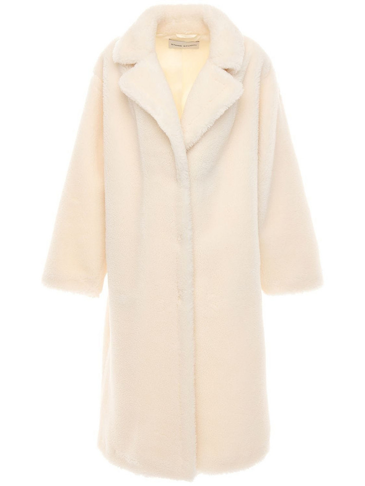 STAND Maria Faux Teddy Long Coat in white
