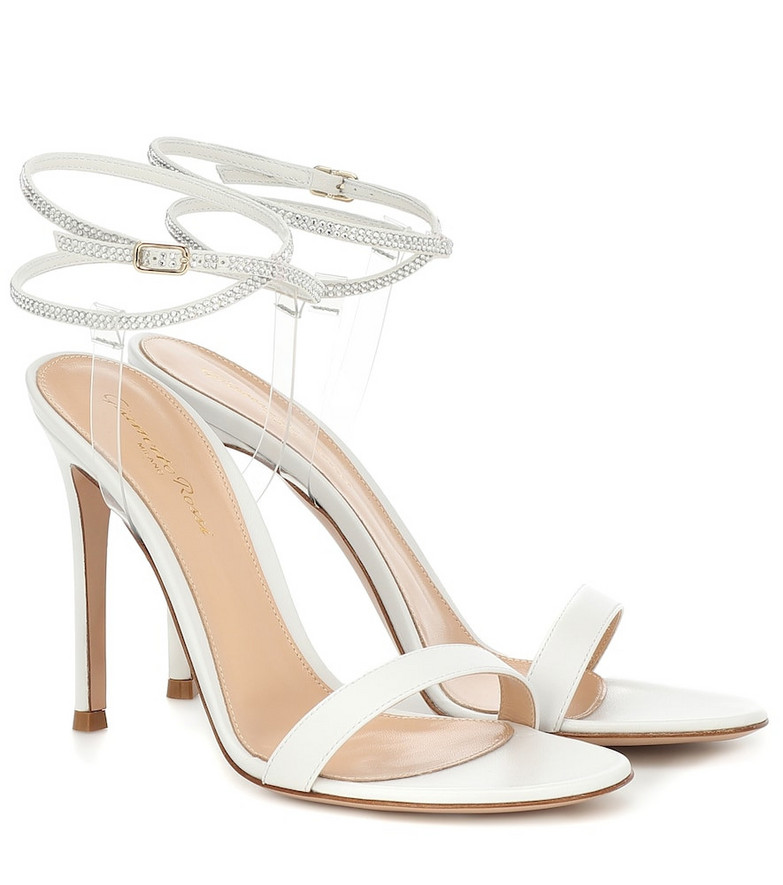 Gianvito Rossi Embellished leather sandals in white