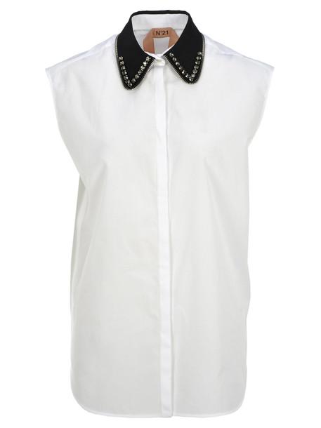 N.21 N21 Crystals Embellished Shirt in white