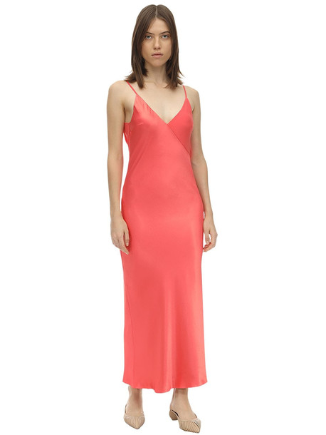 LESYANEBO Reversible Satin Midi Dress in coral