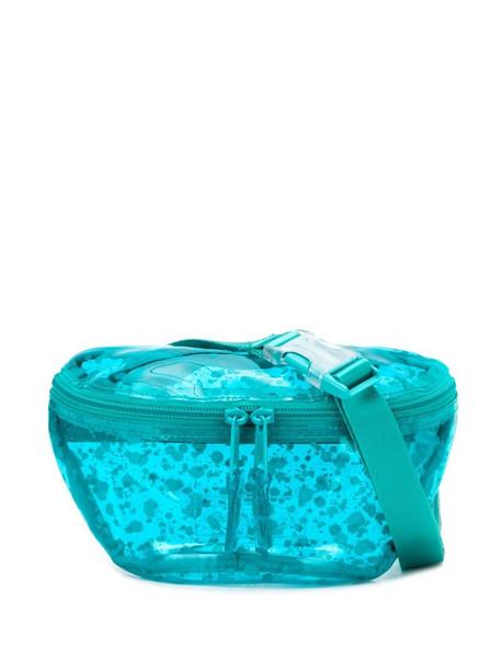 Eastpak transparent paint splatter print belt bag in blue