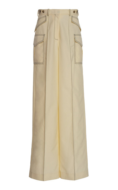 Rokh Patch Pocket Crepe Wide-Leg Pants in white