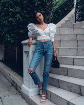 bag,black bag,white sandals,ripped jeans,white blouse