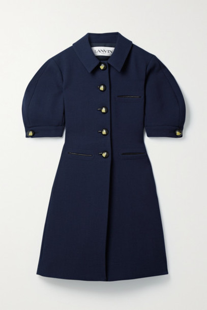 Lanvin - Leather-trimmed Textured Wool-blend Crepe Mini Dress - Midnight blue