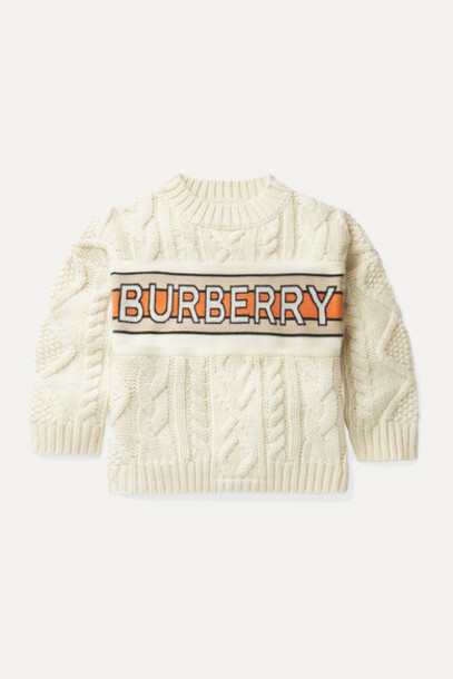 Burberry Kids - Ages 3 - 12 Jacquard-trimmed Cable-knit Wool And Cashmere-blend Sweater in ivory