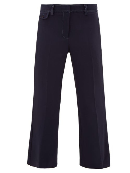 Sies Marjan - Dese Topstitched Cropped Trousers - Womens - Navy