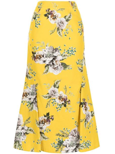 Erdem Carnation Bouquet-print skirt in yellow