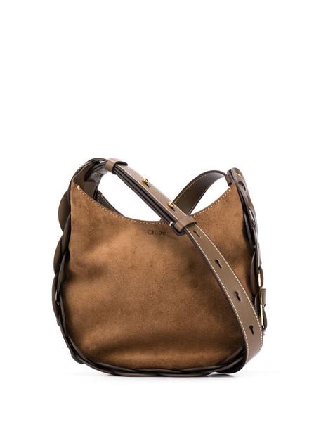 Chloé woven shoulder bag in brown