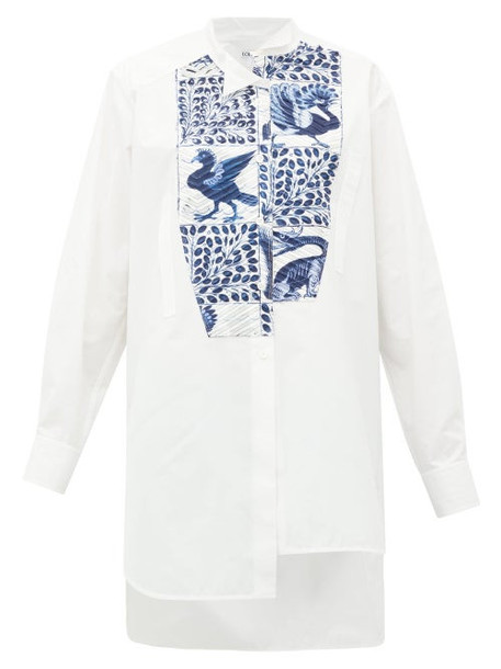 Loewe - Peacock-print Panel Cotton Shirt - Womens - White Multi
