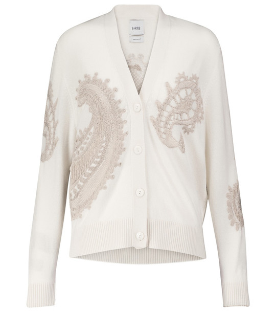 Barrie Cashmere and cotton cardigan in white