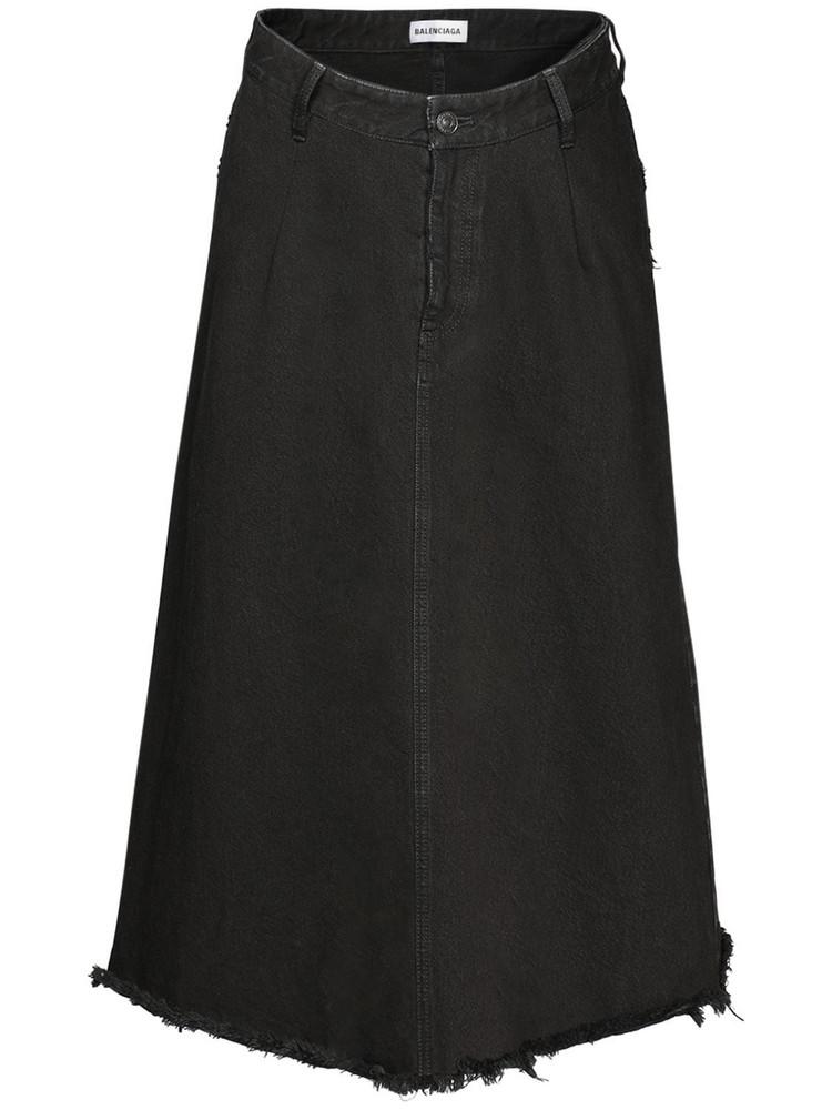 BALENCIAGA High Waist Cotton Denim Midi Skirt in black
