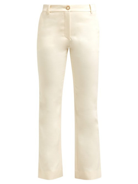 Valentino - Mid Rise Wool Blend Flared Trousers - Womens - Ivory