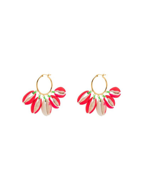 Venessa Arizaga gold-plated palm tree-print shell earrings in pink