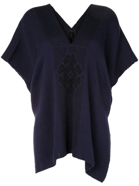 VOZ Araña knitted poncho in blue