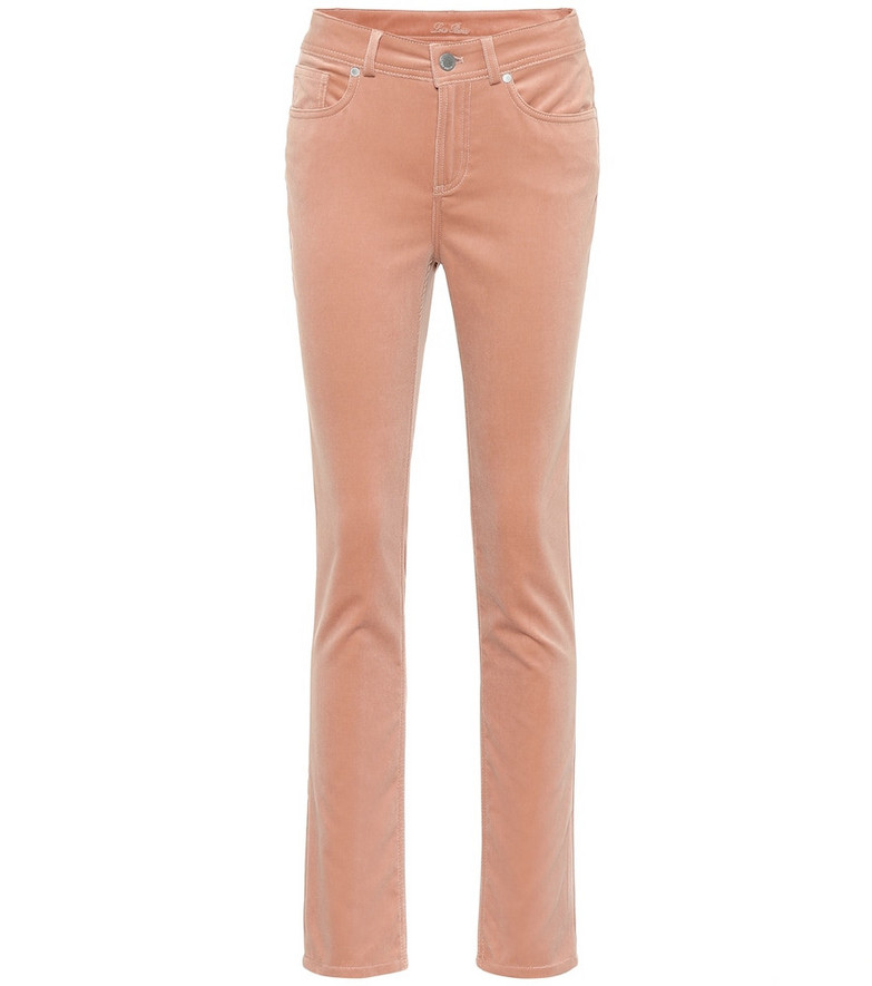 Loro Piana Mathias stretch-velvet straight pants in pink