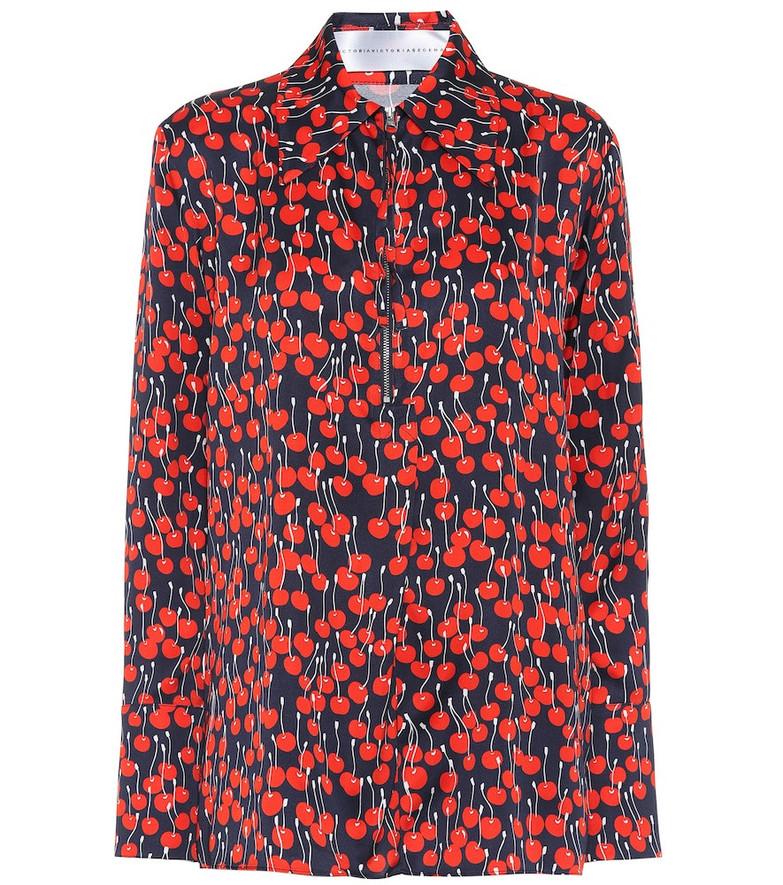 Victoria Victoria Beckham Cherry-print satin shirt in black