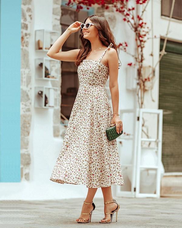 dress floral dress midi dress sleeveless dress sandal heels handbag