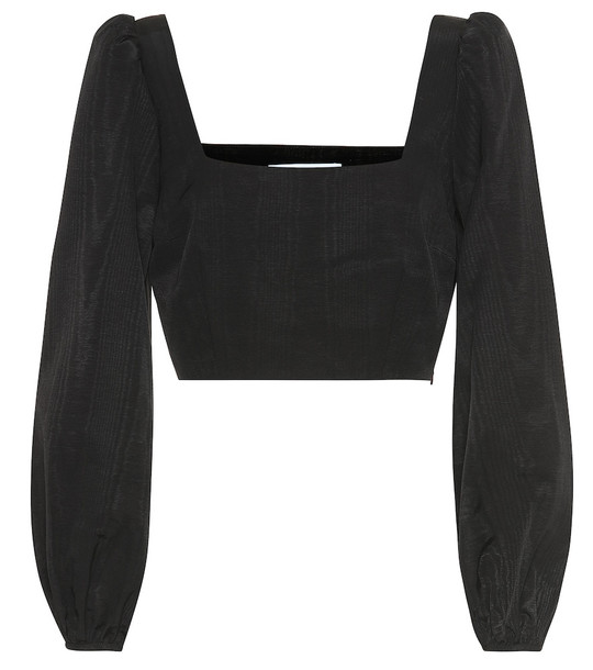 Racil Pat moire cropped top in black