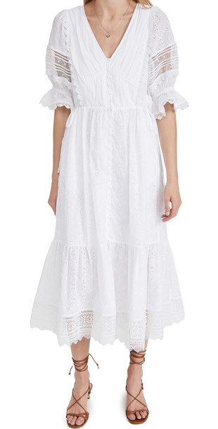 Self Portrait White Floral Broderie Anglaise Midi Dress