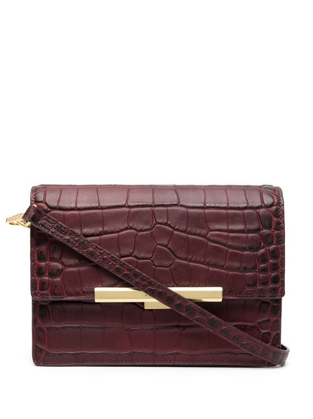 Lancaster Exotic crocodile-embossed clutch in red