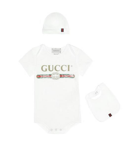 Gucci Kids Cotton onesie, bib and hat set in white