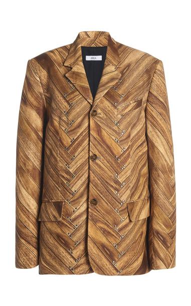 Area Wood Panel-Printed Crepe Blazer in print