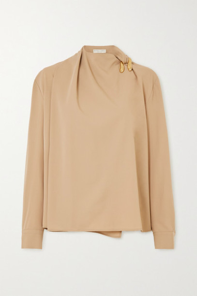 Bottega Veneta - Embellished Draped Wool-twill Blouse - Beige