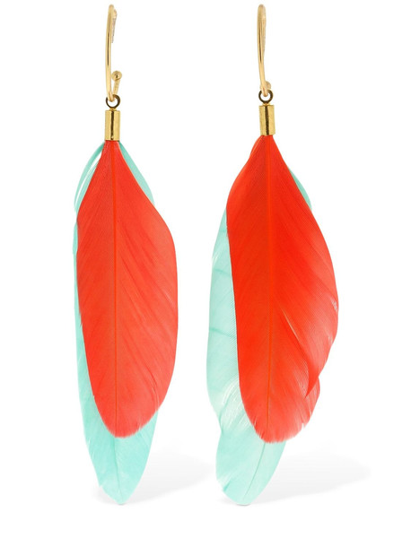 MERCEDES SALAZAR Chaman Faux Feathers Hoop Earrings in blue / orange