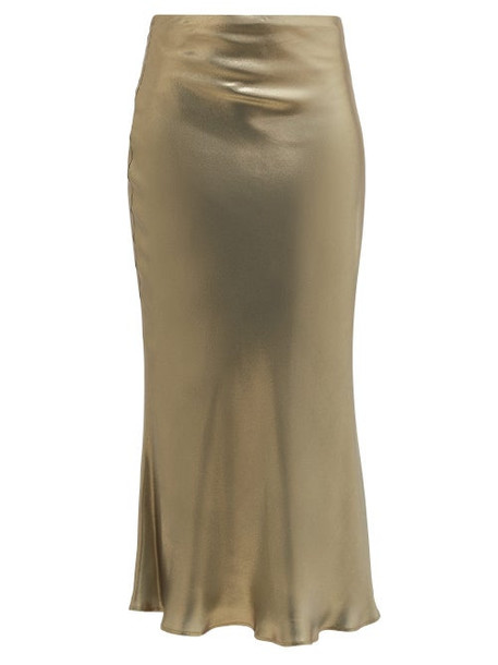 Galvan - Fluted Metallic-effect Silk-satin Midi Skirt - Womens - Green Gold