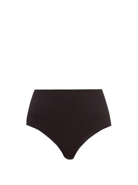 Casa Raki - Ana High Waist Basket Weave Bikini Briefs - Womens - Black