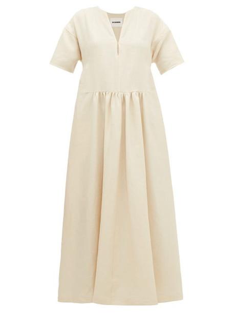 Jil Sander - Side Stripe V Neck Linen Dress - Womens - Beige Multi