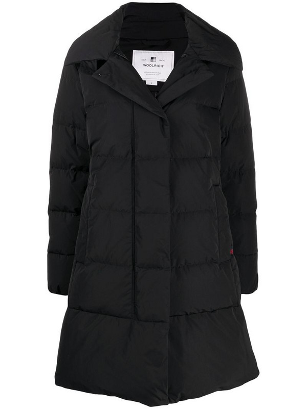 Woolrich long quilted coat in black