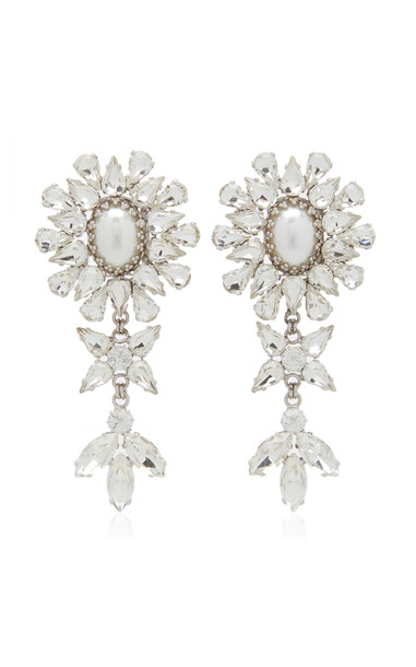 Alessandra Rich Pearl And Crystal Statement Earrings in silver